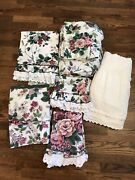 Waverly Floral Eyelet Ruffle Twin Pleasant Valley Vintage Sheet Set 7 Pieces