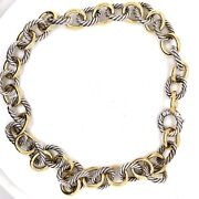 David Yurman 18k Yellow Gold Sterling Silver Large Oval Link Cable Necklace