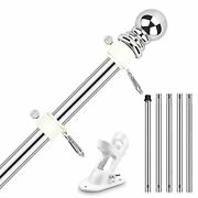 6ft Flag Pole Kit Stainless Steel Heavy Duty Holder Mount With Brackets American