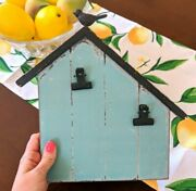 Rustic Picture Frame- Photo Holder With Clips / Country Farmhouse Birdhouse Blue