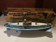 1940's Vintage Wolverine Usa Wind Up Tin Lithograph Toy Submarine W/ Box Rare