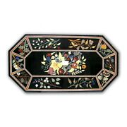 Black Marble Dining Table Top Marquetry Floral Mosaic Inlay Art Home Decors B351