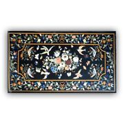 Black Marble Dining Table Top Marquetry Floral Birds And Fruits Inlay Decors B352