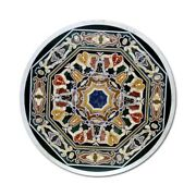 Black Marble Dining Top Table Mosaic Marquetry Handmade Inlay Art Home Deco B355
