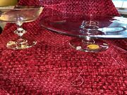 Rare Val St. Lambert Crystal, Signed, Cake Stand And Candy Dish, State Plain