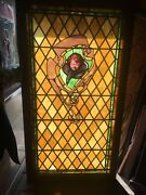 Rare Old Sleeping Angel Stained Leaded Glass Window Mansion Theatre Shipping Ok