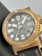 H2o Helberg Kalmar 2 Bronze 3000m Swiss Automatic Black Mother Of Pearl Dial