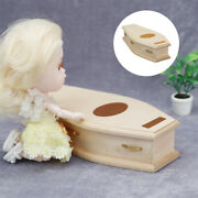 112 Doll House Miniature Wood Coffin Simulation Baby Doll Supplies Accs