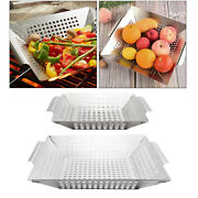 Bbq Veggie Grilling Basket For Meat Grill Wok Pan For All Grills And Smokers