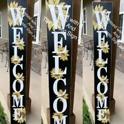 Welcome Sunflower Rustic Wood Porch Sign Hand Painted Farmhouse Large Decor