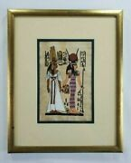 Goddess Isis And Queen Nefertari Papyrus Painting From Egyptian Tomb Gold Frame