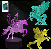 Hongid 3d Unicorn Night Light For Kids,3d Illusion Lamp 3-pattern And 16 Colors Aw