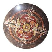 Black Round Marble Dining Table Mosaic Marquetry Floral Handmade Inlay Deco B366