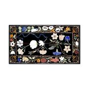 Black Marble Dining Top Table Marquetry Floral Inlay Handmade Art Home Deco B384