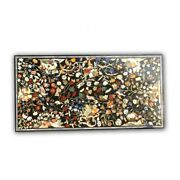 Black Marble Dining Table Top Precious Marquetry Floral Inlay Art Home Deco B389