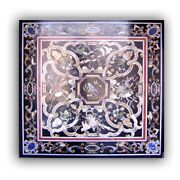 Black Square Marble Dining Table Top Mosaic Scagliola Inlay Handmade Decors B390