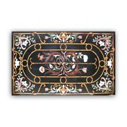 Black Marble Dining Top Table Pietra Dura Mosaic Floral Inlay Handmade Deco B396