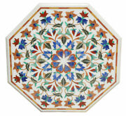 White Marble Coffee Table Top Multi Stone Marquetry Floral Decor Furniture H2379