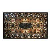 Black Marble Dining Table Scagliola Inlay Handmade Arts Home Kitchen Decors B360