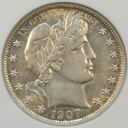 1907-s Barber Half Dollar 50c Anacs Xf45 More White Than Pictures