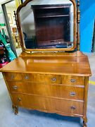 Beautiful Antique Cherry 5 Drawer Dresser With Swing Mirror, Original Casters