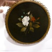 Large Antique 4 1/4 Petra-dura Floral In Brass Picture Frame