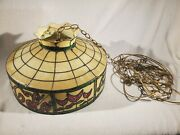 Vtg Faux Stained Glass Hanging Ceiling Light Lamp Shade Drink Coca Cola