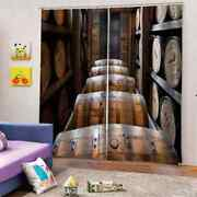 Pure Wine Is Fermented In A Barrel Printing 3d Blockout Curtains Fabric Window