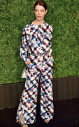 4279 Nwt Red White And Blue Logo Print Silk Pants 34 36 2 4 6 Wide Leg S