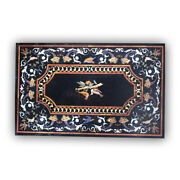 Black Marble Dining Table Top Marquetry Mosaic Bird Inlay Art Home Decorate B368