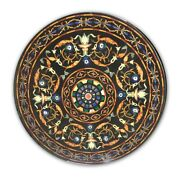 Black Round Marble Dining Top Table Precious Mosaic Floral Inlay Art Decors B400