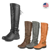 Womenand039s Faux Fur Knee High Snow Riding Boots Pull On Buckle Flat Winter Boots