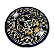 Black Marble Coffee/dining Table Parrot Multi Stone Floral Inlay Home Decor B407