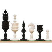 4.1 Lotus Series Hand Carved Chess Pieces Only Set - Camel Bone
