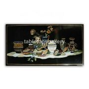 4and039x3and039 Black Marble Dining Table Top Pietra Dura Flower Vase Handmade Decors B412