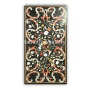 Black Marble Dining Table Top Carnelian Mosaic Floral Inlay Art Home Decors B415