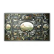 5and039x3and039 Black Marble Dining Table Top Semi Scagliola Inlay Handmade Art Decor B416