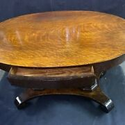 Rare Antique Oval Oak Library Table Double Pedestal W/drawer Original Finish And