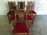 6 Early 1900's Antique Louis Xvi Style Red Velvet Seated Chairs. 2 Are Captain