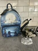 Nwt Loungefly Peter Pan Mini Backpack And Art Of Disney Figurine