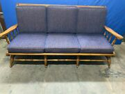 Vintage Ethan Allen Maple Sofa With Upholstered Cushions