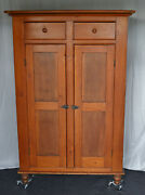 Large American Antique Tall Cupboard W/ Two-board Back