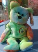 Ty Beanie Baby Retired Collectible Andldquopeace Bearandrdquo Vivid Colors And Tag Errors