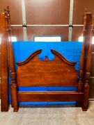 Vintage American Drew Cherry Grove Pediment Rice-wheat Carved Queen Poster Bed