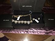 Nwt St John Knit 490 Gold Crystal Earrings And Necklace Set Discontinued Gift Box
