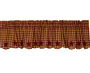 New Burgundy Star Window Valance Scalloped Edge Farmhouse Country Appliqued 72w