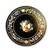 Black Round Marble Dining Table Top Marquetry Floral Inlay Art Living Decor B420