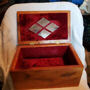 Vintage Solid Stained Wood Red Velvet Lined Dresser Jewelry Box Diamond Mirrors
