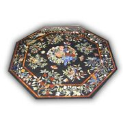 Black Marble Dining Table Top Precious Marquetry Fruits And Floral Inlay Deco B424