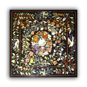 Back Square Marble Dining Table Top Precious Fruits Floral Inlay Art Decors B426